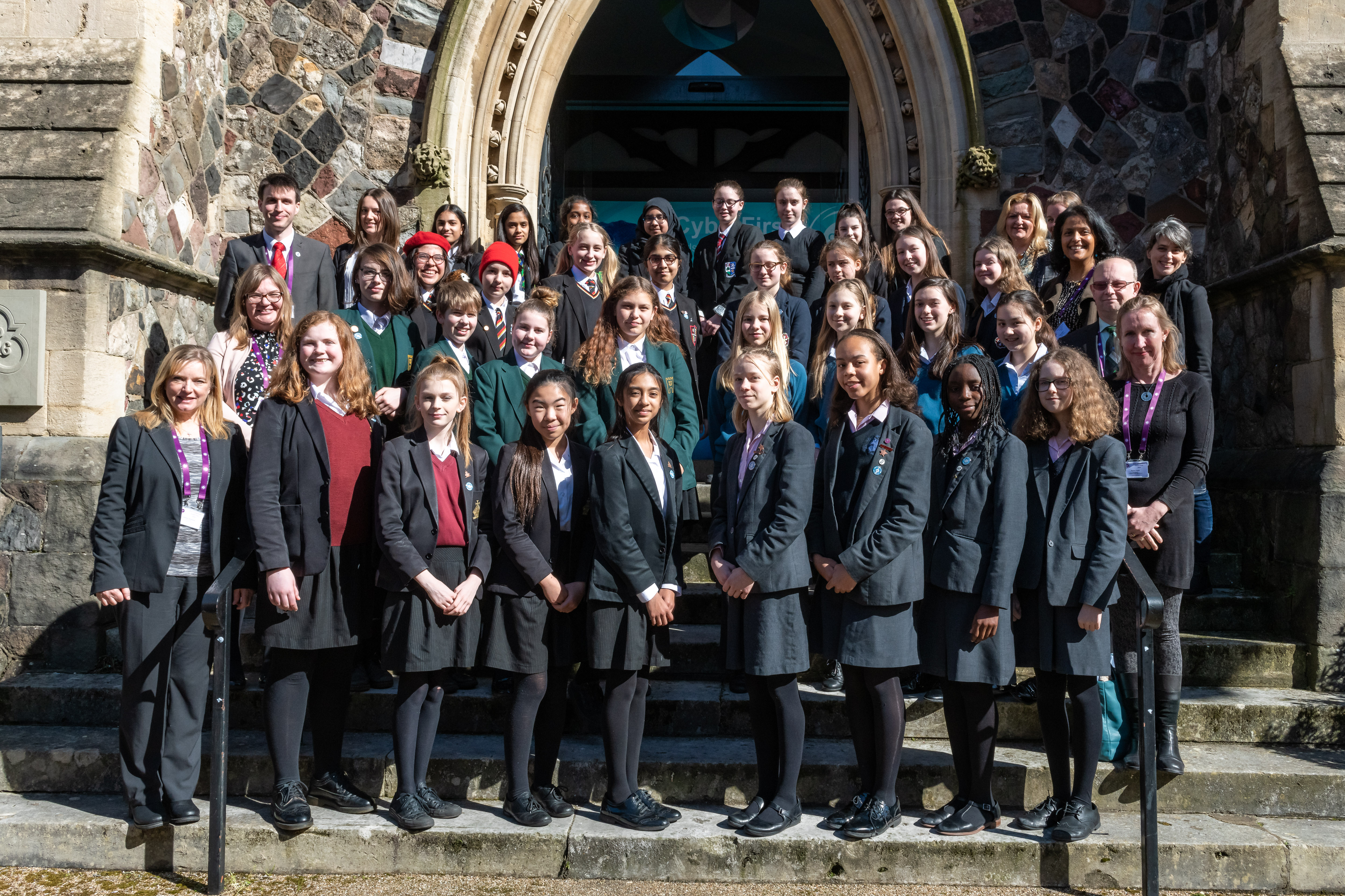 The contenders for the CyberFirst Girls Competition 2020 outside the Grand Final venue in Cardiff.