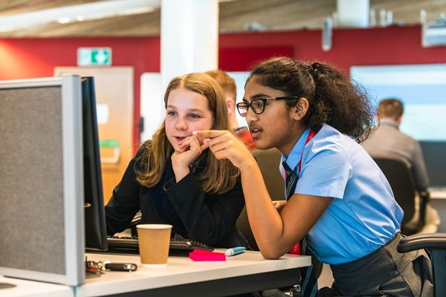 Girls taking part in a CyberFirst Girls Competition semi-final in Newport.