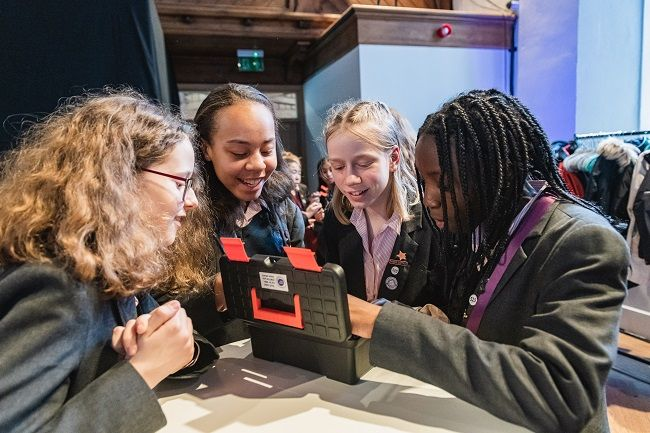 Girls take part in the Cardiff final of the CyberFirst Girls Competition