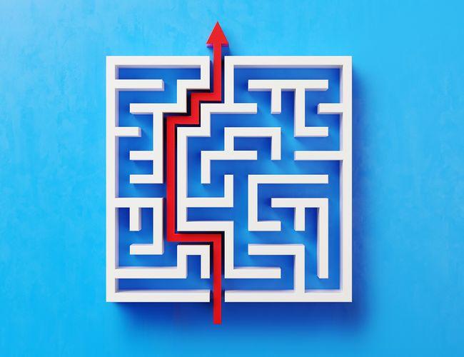 A red arrow navigating it's way through a maze