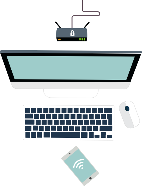 Illustration of a computer, keyboard, mouse, router and an internet-connected device