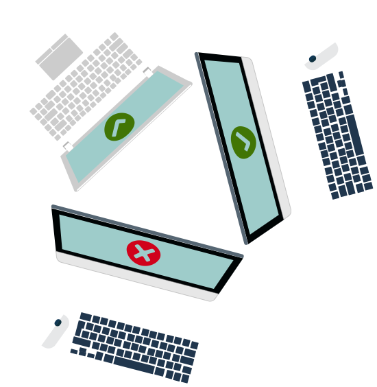Illustration of three laptops - two with green ticks and one with a red cross on the screen